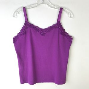 Chico's Fancy Lace Trim Tank Top NWT Size 2 #1617